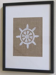 Burlap Wall Art :: Nautical Ships Wheel $8.00