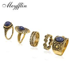 5 PCS Vintage Ring Sets Antique Alloy Nature Blue Stone Midi finger Rings for Women Steampunk Turkish Ring Anillos