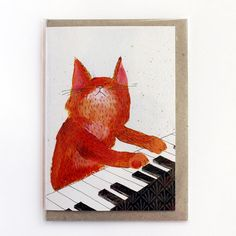 Cat playing piano ginger music cat blank greeting by SurfingSloth