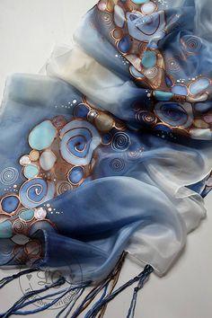B r o n z e - blue / LGhodvab - SAShE. Saree Painting, Fabric Painting, Fabric Art, Silk Fabric, Hand Painted Fabric, Painted Silk, Batik Art, Silk Art, Fashion Painting