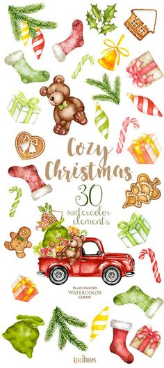 Watercolor Christmas Truck with gifts New Year decoration Santa Winter clipart teddy bear Christmas stocking Gingerbread Man Cookies Christmas Truck, Noel Christmas, Diy Christmas Gifts, Christmas Projects, Christmas Cookies, Christmas Stockings, Christmas Clipart, Christmas Ideas, Winter Cliparts