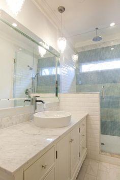 modern bathroom glass tile subway tile beveled mirror beveled subway tile