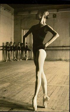 Beautiful picture of a ballet dancer in ballet class. Vaganova style.