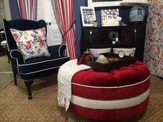Red deep button ottoman Bean Bag Chair, Ottoman, Fabrics, Deep, Display, Button, Furniture, Home Decor, Tejidos