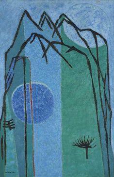 (Korea) Blue mountain by Whanki Kim Art Gallery, Colorful Art, Abstract Prints, Sculpture Art, Oriental Art, Painting, Conceptual Art, Korean Painting, Texture Art