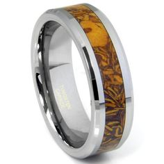 Tungsten Carbide Brown Riverstone Inlay Wedding Band Ring:Amazon:Jewelry. Adrian's choice.
