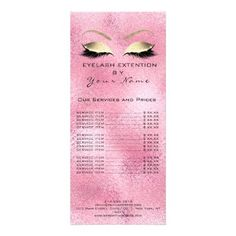 Branding Price List Lashes Extension Pink Rose Rack Card - metal style gift ideas unique diy personalize