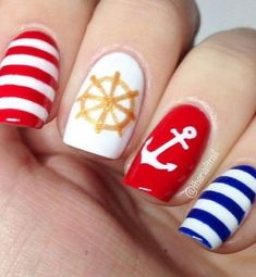 quenalbertini: Red, Blue & Gold Nautical Nails with Anchor nails.quenalbertini: Red, Blue & Gold Nautical Nails with Anchor Anchor Nail Designs, Anchor Nail Art, Nautical Nail Art, Red Nail Designs, Nautical Nail Designs, Nautical Anchor, Nails Polish, Red Nails, Red Summer Nails