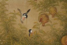 Birds in Pomegranate Tree Two-Panel Folding Screen Two-panel folding screen with fine painting in ink, mineral colors, and gold leaf on paper of a pair of birds flying by a pomegranate tree. Signed by...