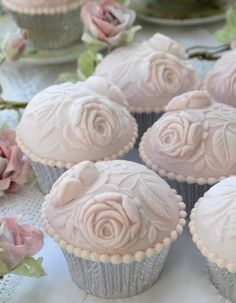 Vintage Rose tea party cupcakes. White chocolate mud cake with strawberry buttercream.