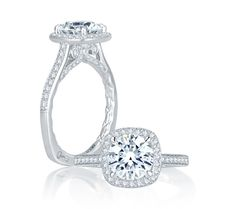 Intricate Channel Set with Milgrain Detail Cushion Halo Quilted Engagement Ring