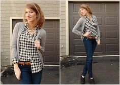 Love the black and white gingham with jeans.