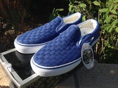 Vans Vault Classic Slip on LX Woven Check True Blue Syndicate Supreme