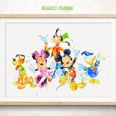 ~Mickey ~Minnie ~Pluto ~Goofy ~Donald ~Water Color Art