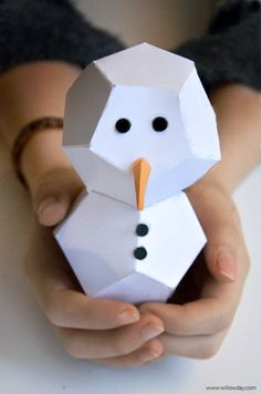 willowday: Cut + Fold Paper Snowmen