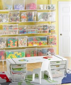 ~Toy Room Organisation~  Clear tubs = easily identified toys