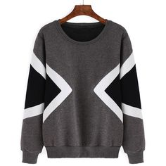 Geometric Print Thicken Grey Sweatshirt ($13) ❤ liked on Polyvore featuring tops, hoodies, sweatshirts, jumpers, sweaters, grey, long sleeve cotton tops, gray sweatshirt, long sleeve pullover and gray pullover