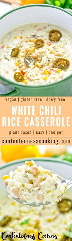 This absolutely mouthwatering White Chili Rice Casserole is entirely vegan, gluten free, and made in one pot. Super satisfying, creamy, and finger-licking good. Perfect as lunch or dinner, and super practical to make ahead. #vegan #glutenfree #lunch #dinner #onepot #rice Gluten Free Recipes For Dinner, Best Vegan Recipes, Whole Food Recipes, Favorite Recipes, Healthy Recipes, Casseroles Healthy, Healthy Meals, Healthy Food, Vegan Gluten Free