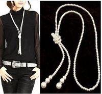 2015 a estrenar del diseñador declaración perla de los granos de moda perlas blancas collar collares largos WN507