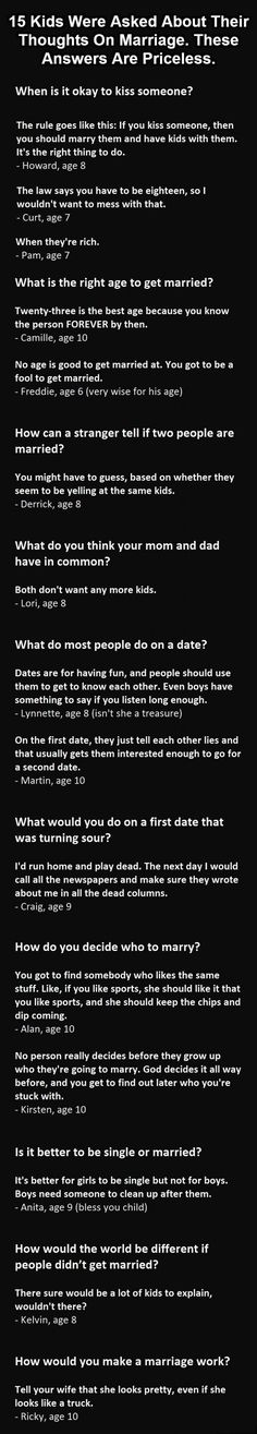 15 Kids Were Asked Questions About Marriage And Love. Their Answers Are Hilarious. - http://www.lifebuzz.com/marriage-and-love/