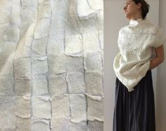 Felted top, Felted sweater, White top, Nuno felt, Wearable Art, Felted clothing, wool Top, Designer Blouse, Hand made, Gift for her,