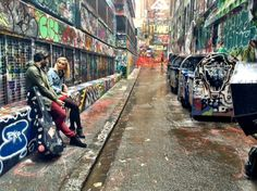 Photoshoot for musician surrounded by graffiti street - this would be so cool for a classical instrument like violin!