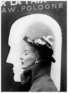 Wearing a hat by Schiaparelli, photo by Richard Avedon, Harper's Bazaar 1948