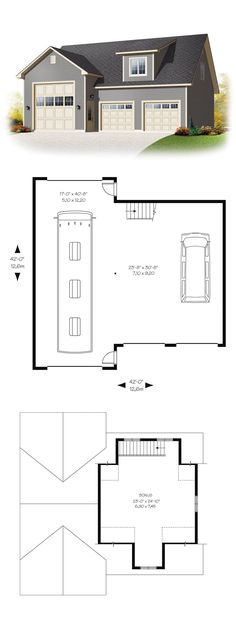 Garage Plan 76374 | Bonus area: 627 sq ft Garage area: 1527 sq ft #garageapartment
