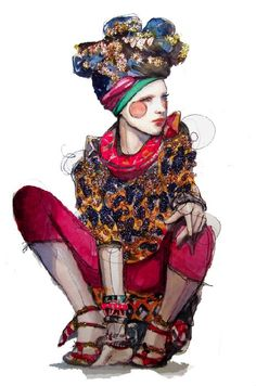 TURBAN LOVE by Kathryn Elyse Rodgers  #fasion #sketch  #drawing  #illustration