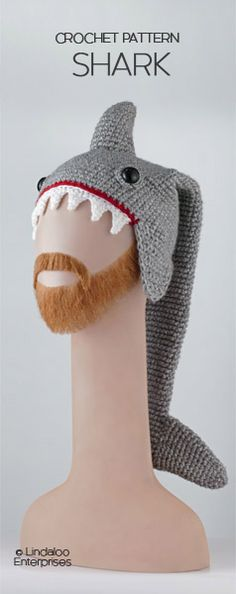 """SHARK HAT CROCHET PATTERN from the book """"Amigurumi Animal Hats Growing Up"""" by Linda Wright. 20 crocheted animal hat patterns for Ages 6-Adult. Book available at Amazon.com and BarnesandNoble.com. http://www.amazon.com/dp/1937564991/"""