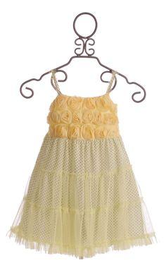 Little Mass LePink Hannah Yellow Dotted Girls Dress $49.00