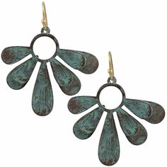 Antiqued Turquoise Floral Earrings from HandPicked