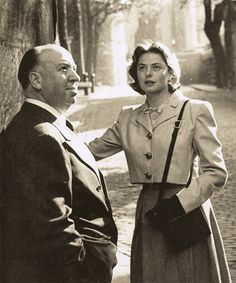 Alfred Hitchock and Ingrid Bergman in London, 1948.