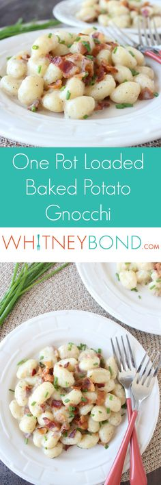 This one pot gnocchi dish is made in only 20 minutes & loaded with all of your favorite baked potato toppings like sour cream, cheese, bacon & chives!