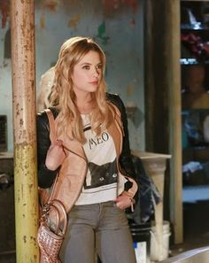 """Hanna's Zara Beige Leather Biker Jacket with Zips and Royal Rabbit Pretty Kitty Crop Tee Pretty Little Liars Season 4, Episode 3: """"Cat's Cradle"""" - Spotted on TV"""