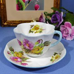 Shelley Begonia Tea Cup and Saucer Blue Handle Shelley