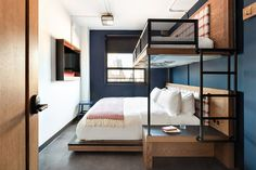 The Revolution Hotel Boston is a design hotel for creatively unconventional Plano Hotel, Hotel Room Design, Lobby Design, Cool Bunk Beds, Bunk Rooms, H Design, Hotel Interiors, Hotel Lobby, Interior Design