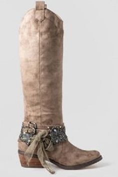 Tall, bleached look riding boots with ankle jewelry! Perfect for a party or wedding...