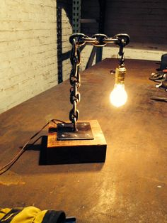 welded chain desk lamp Similar items available on our ETSY shop makerschicago (one word)                                                                                                                                                                                 More