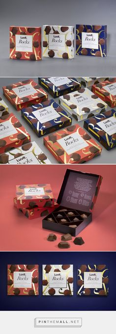 Pralines might not be the first type of sweets you think of when it comes to mouthwatering chocolates and dessert—that is, until now. BLOK has designed the packaging for LuvIt Rocks, a line of pralines geared towards a younger demographic. design by BLOK