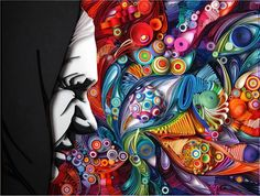 Paper art by Yulia Brodskaya: Black and white and color