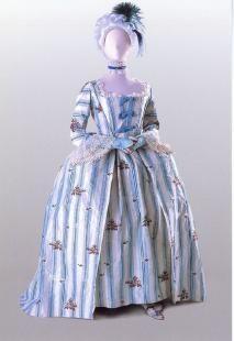 Open robe silk tafetta gown, circa 1765.    Date:   Circa 1765  Location:   Costume Museum of Canada, Winnipeg, Manitoba, Canada  Credits:   Costume Museum of Canada