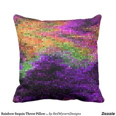 "Rainbow Sequin Throw Pillow 16"" x 16"""