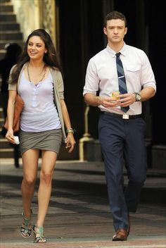 Mila Kunis and Justin Timberlake filming Friends With Benefits, New York, 2011