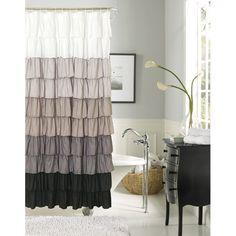 Dainty Home Flamenco Ruffled Shower Curtain 72 by 72 Inch Black White Ruffle Shower Curtains, Modern Shower Curtains, White Shower, Curtain Designs, Curtain Ideas, Window Curtains, Bathroom Ideas, Bathroom Updates, Bathroom Makeovers