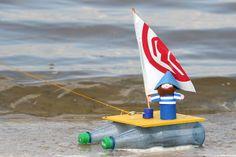 Bastelvorlage für Kinder: Boot mit Kapitän zum basteln