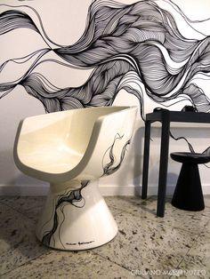 A arte saiu das paredes e invadiu a poltrona! Projeto by Fabricio Forg para Caio Castro e Rodrigo Andrade com peças da Alhambra Móveis