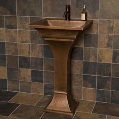 Square Hammered Copper Pedestal Sink Single Faucet Hole (1,325 CAD) ❤ liked on Polyvore featuring home, home improvement and plumbing