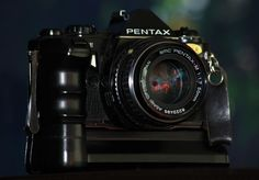 Old Cameras. Pentax ME Super and Power Winder, in black.....