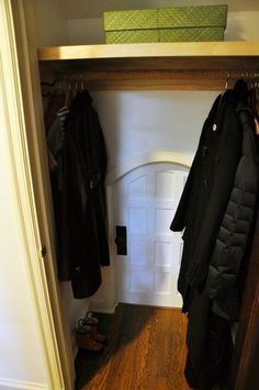 These parents made their kids a little hideaway room in the back of the coat closet! Its super cute, and even has snack doors in the wall. - A Secret Kids Room Through the Closet - Apartment Therapy - Decoration for House Kids Hideout, Deco Cool, Hidden Spaces, Kid Closet, Room Closet, Closet Ideas, Closet Small, Wardrobe Closet, Beach Wardrobe
